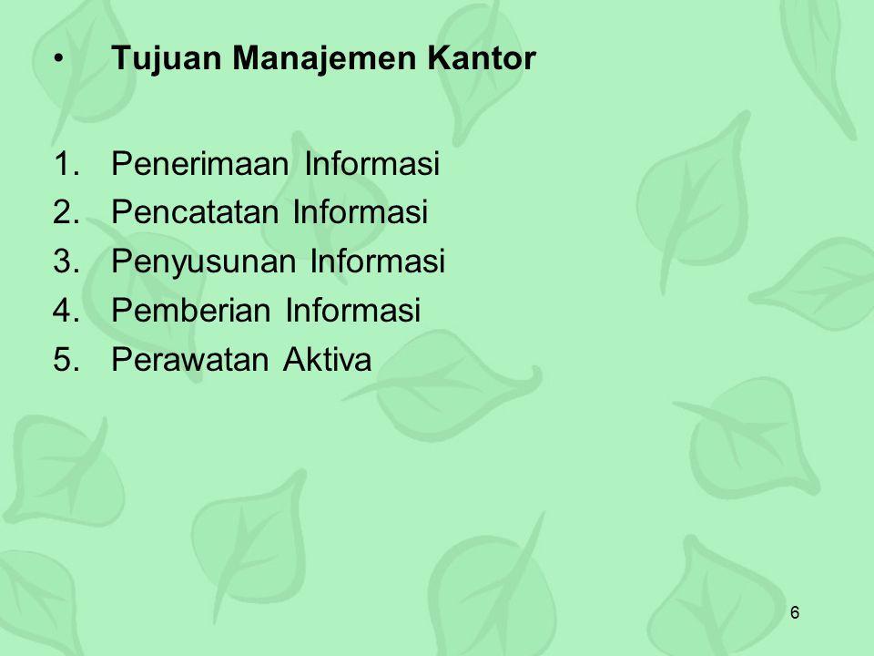 Tujuan Manajemen Kantor Penerimaan Informasi Pencatatan Informasi