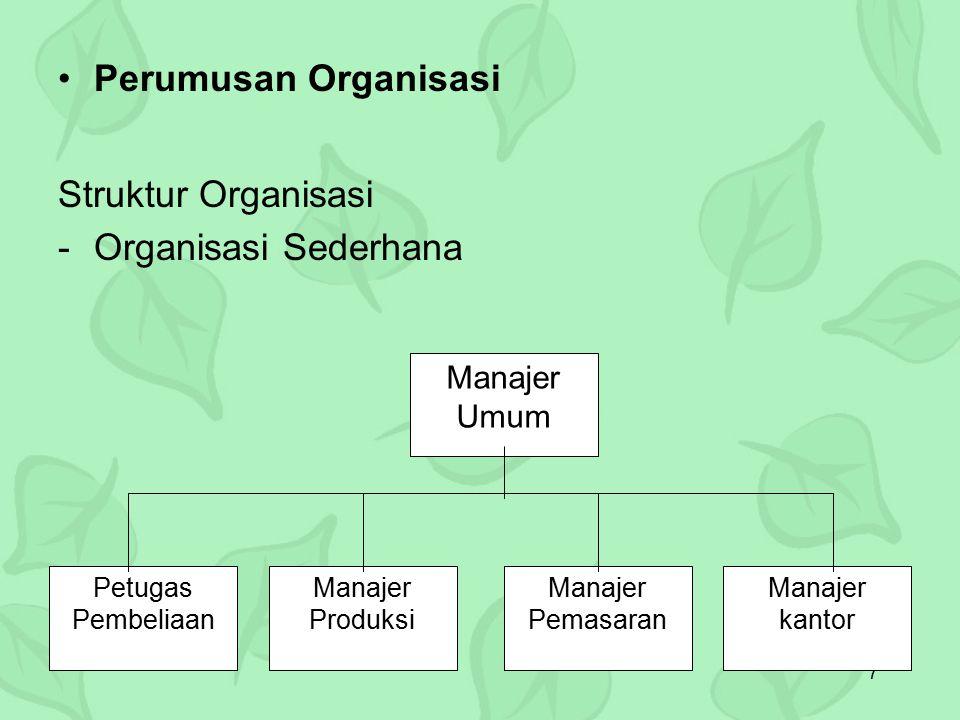 Perumusan Organisasi Struktur Organisasi Organisasi Sederhana