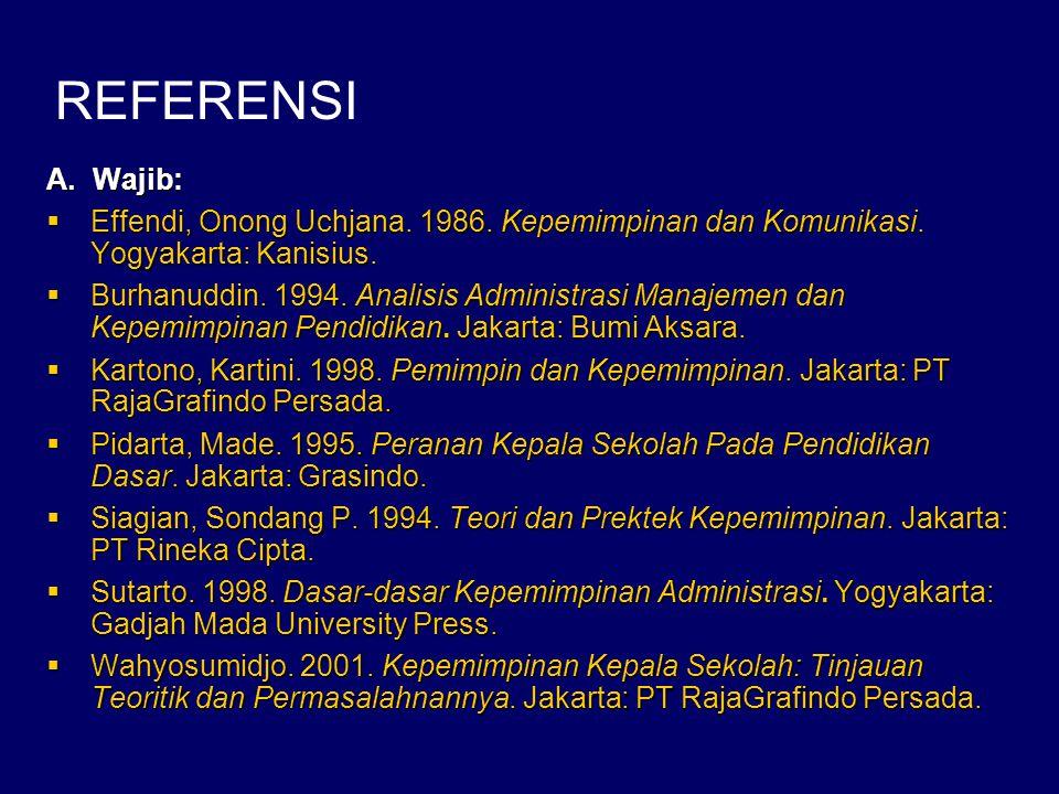 REFERENSI A. Wajib: Effendi, Onong Uchjana. 1986. Kepemimpinan dan Komunikasi. Yogyakarta: Kanisius.