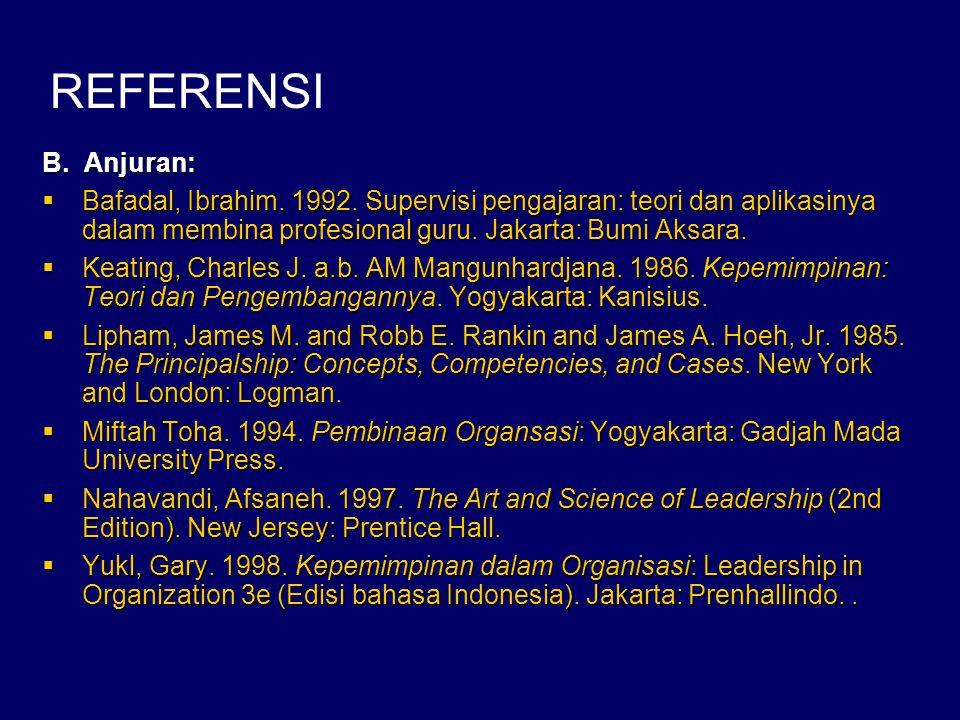 REFERENSI B. Anjuran: Bafadal, Ibrahim. 1992. Supervisi pengajaran: teori dan aplikasinya dalam membina profesional guru. Jakarta: Bumi Aksara.
