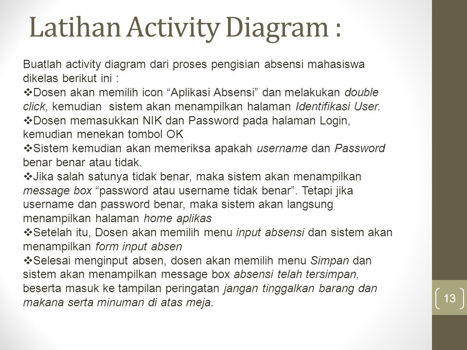Latihan Activity Diagram :