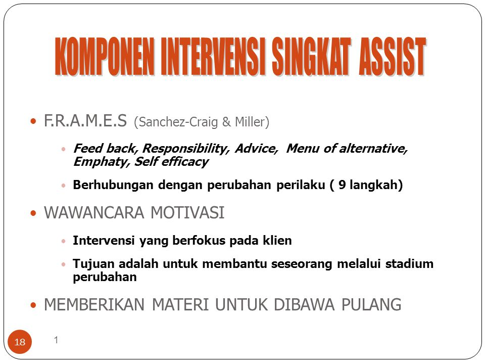 KOMPONEN INTERVENSI SINGKAT ASSIST
