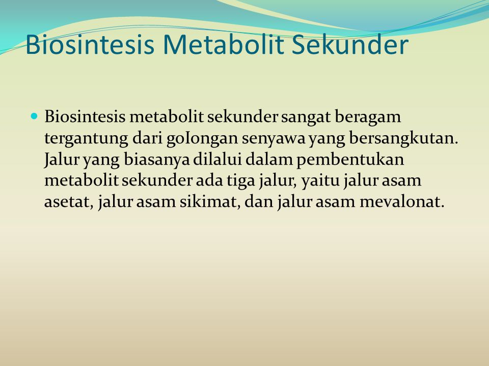 Biosintesis Metabolit Sekunder