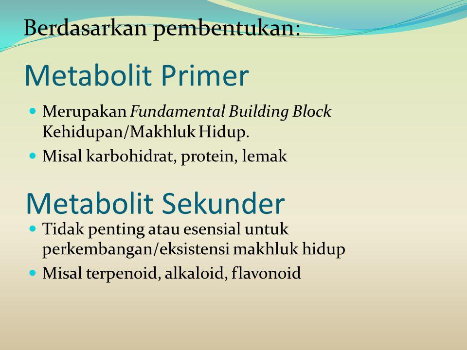 Metabolit Primer Metabolit Sekunder Berdasarkan pembentukan: