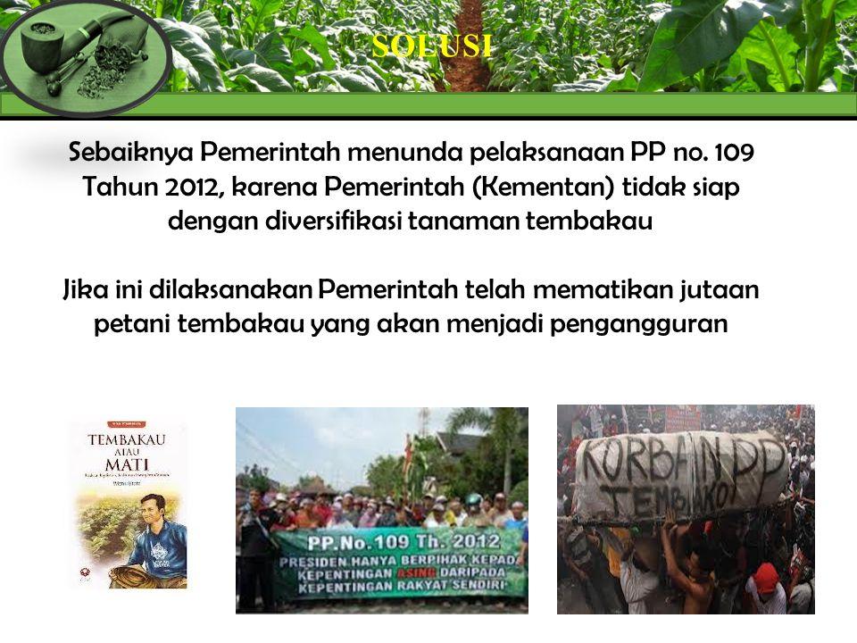 SOLUSI Sebaiknya Pemerintah menunda pelaksanaan PP no. 109 Tahun 2012, karena Pemerintah (Kementan) tidak siap dengan diversifikasi tanaman tembakau.