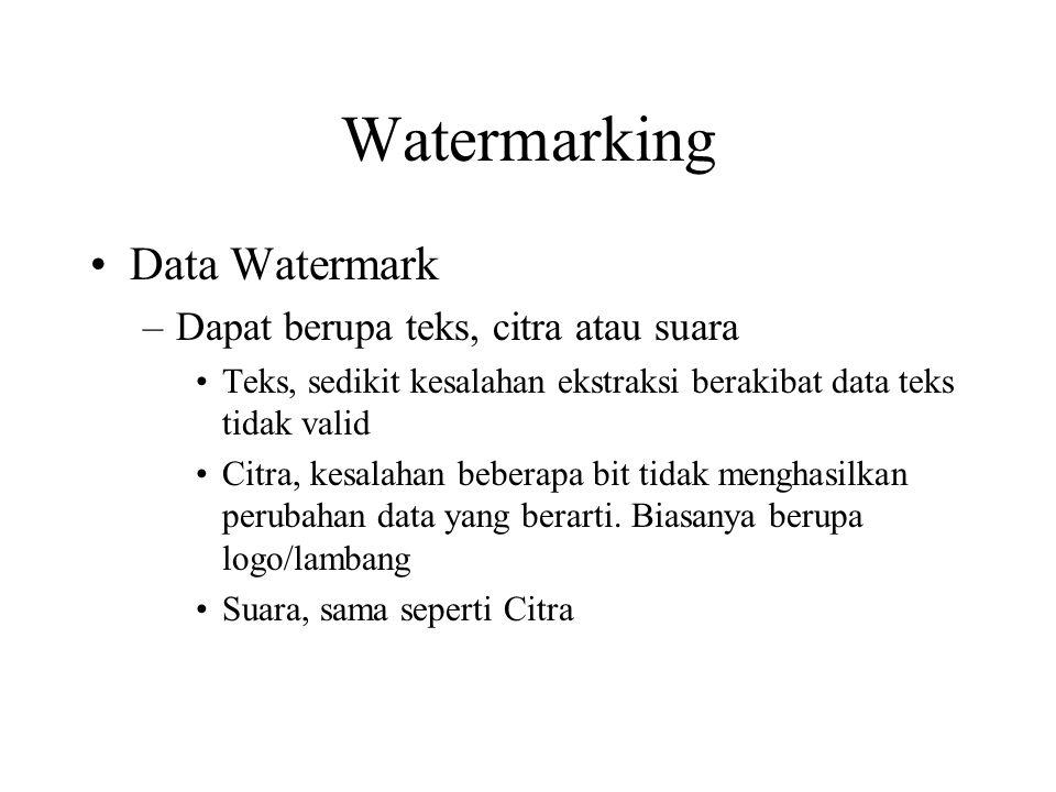 Watermarking Data Watermark Dapat berupa teks, citra atau suara