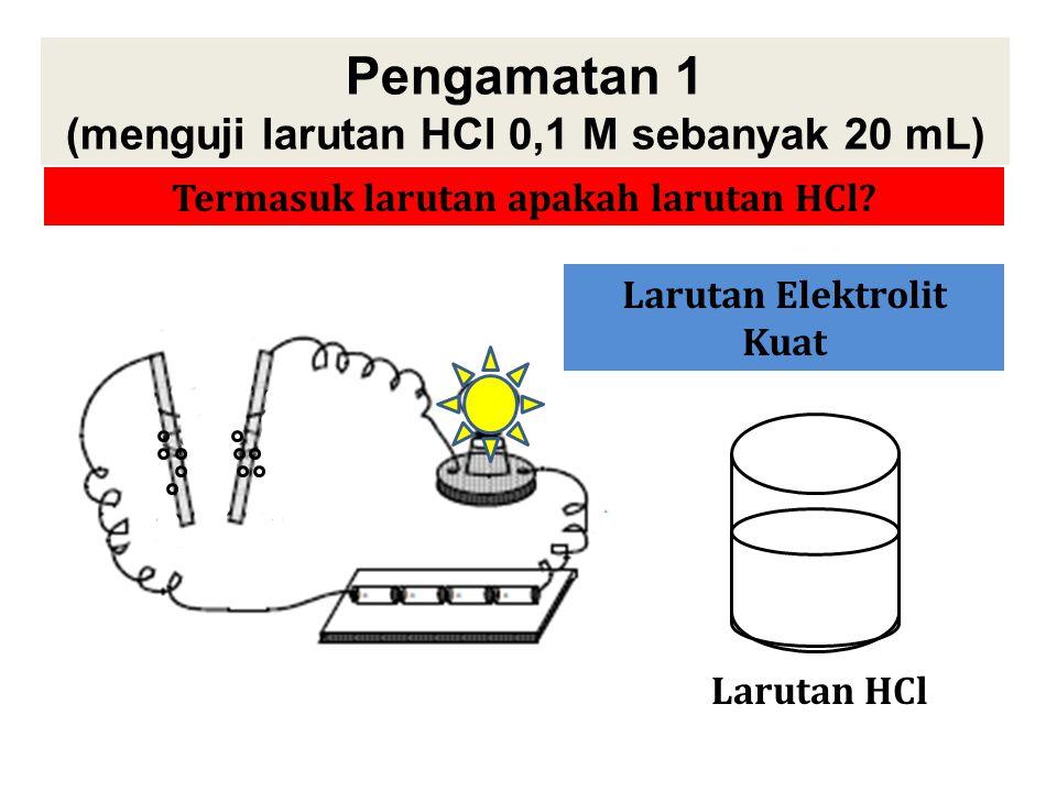 Pengamatan 1 (menguji larutan HCl 0,1 M sebanyak 20 mL)