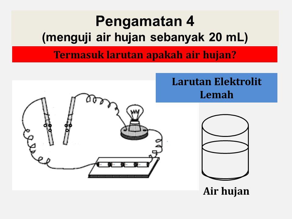 Pengamatan 4 (menguji air hujan sebanyak 20 mL)