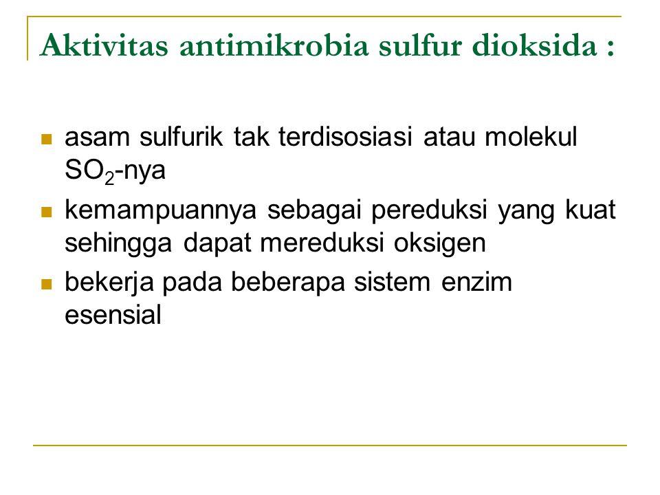 Aktivitas antimikrobia sulfur dioksida :