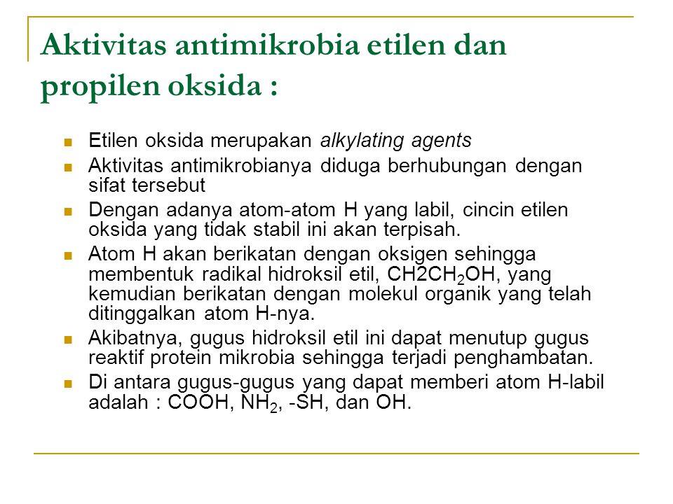 Aktivitas antimikrobia etilen dan propilen oksida :