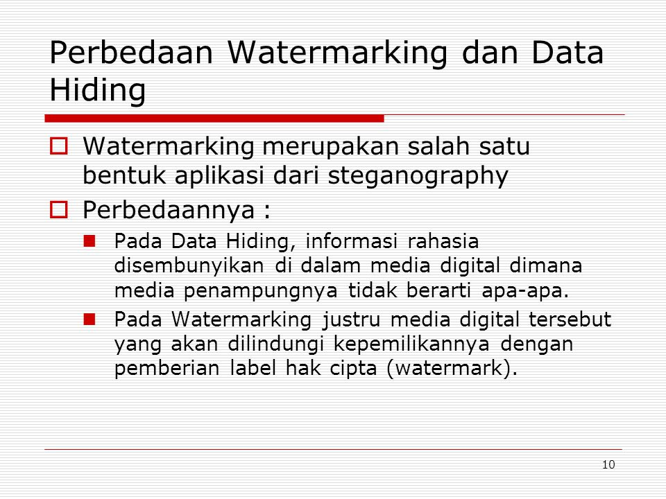 Perbedaan Watermarking dan Data Hiding