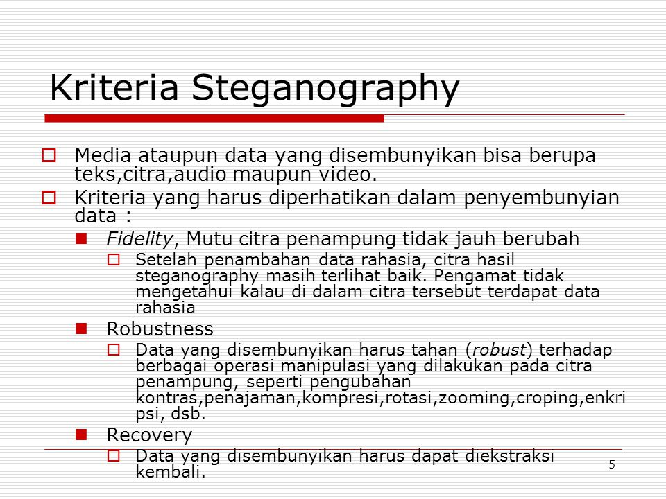 Kriteria Steganography