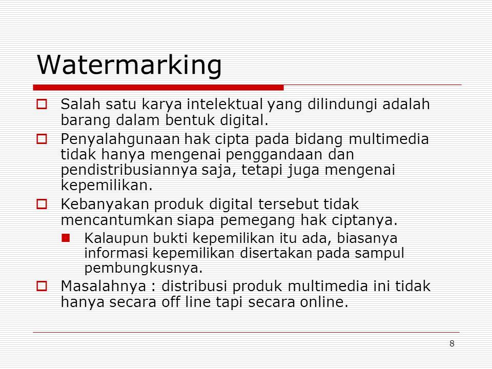 Watermarking Salah satu karya intelektual yang dilindungi adalah barang dalam bentuk digital.