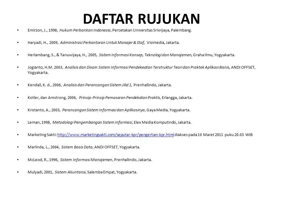 DAFTAR RUJUKAN Emirzon, J., 1998, Hukum Perbankan Indonesia, Percetakan Universitas Sriwijaya, Palembang.