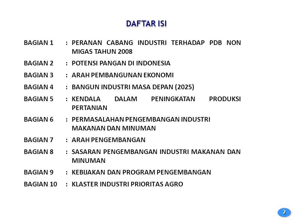DAFTAR ISI BAGIAN 1. : PERANAN CABANG INDUSTRI TERHADAP PDB NON MIGAS TAHUN 2008. BAGIAN 2. POTENSI PANGAN DI INDONESIA.