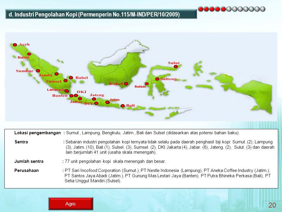 20 d. Industri Pengolahan Kopi (Permenperin No.115/M-IND/PER/10/2009)