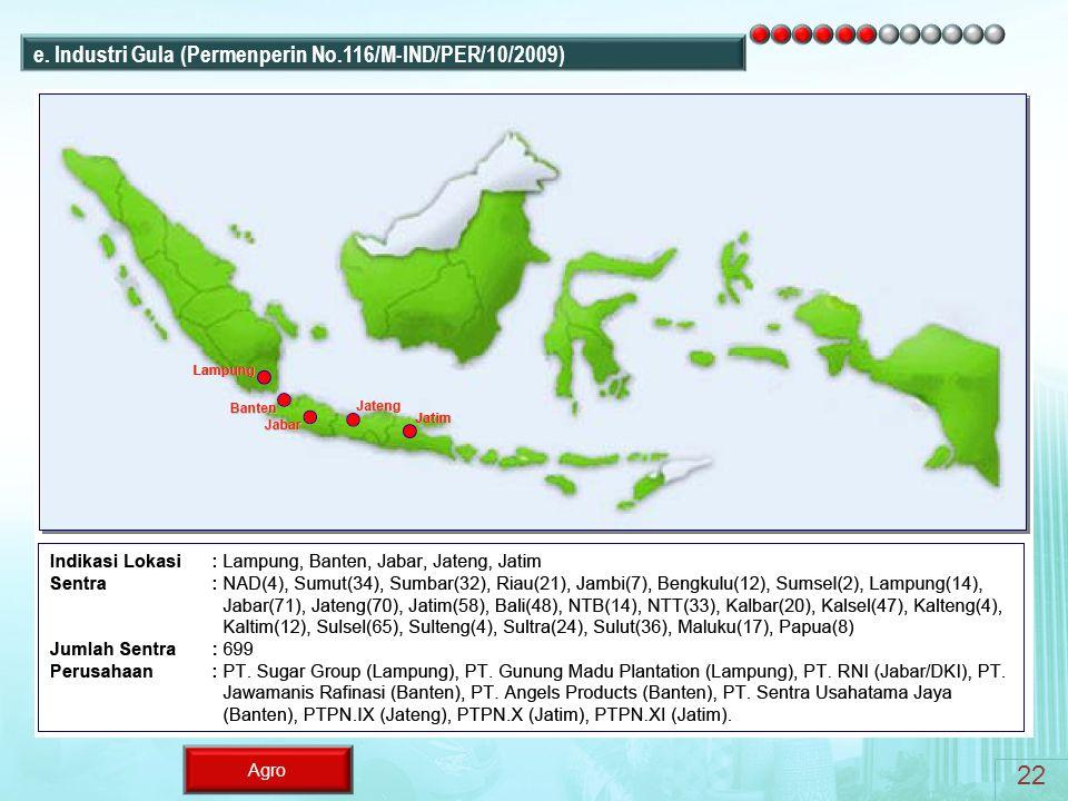 e. Industri Gula (Permenperin No.116/M-IND/PER/10/2009)