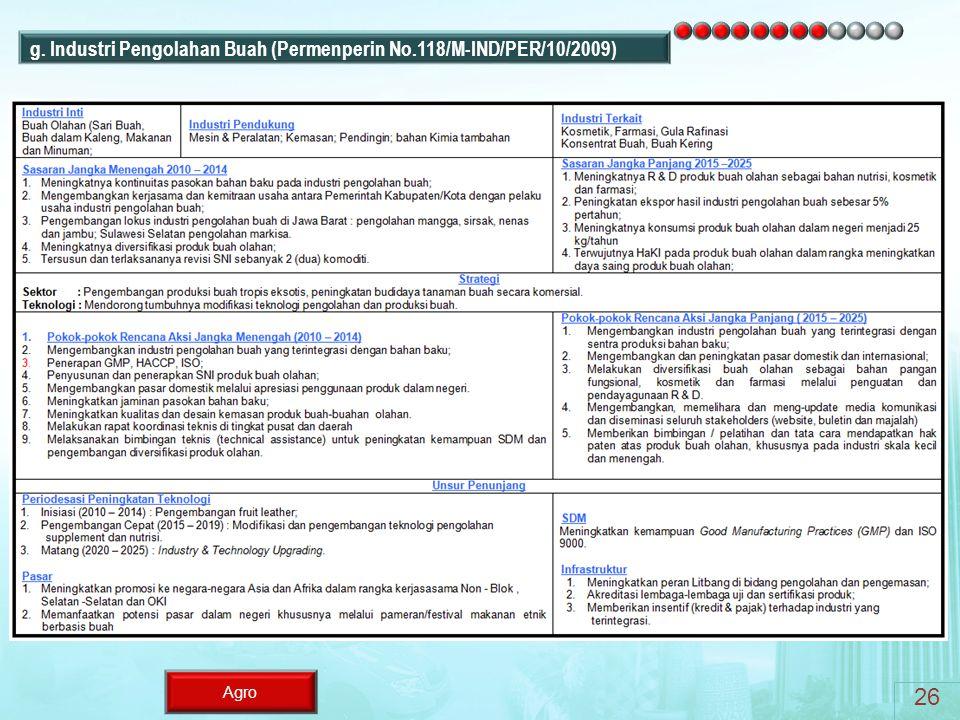 26 g. Industri Pengolahan Buah (Permenperin No.118/M-IND/PER/10/2009)