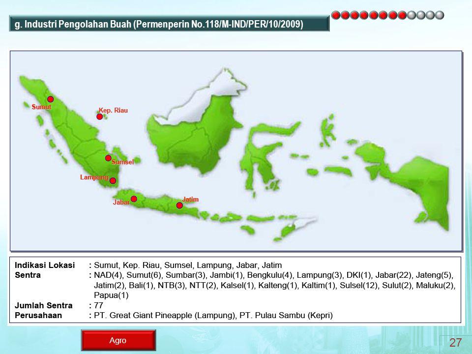 27 g. Industri Pengolahan Buah (Permenperin No.118/M-IND/PER/10/2009)