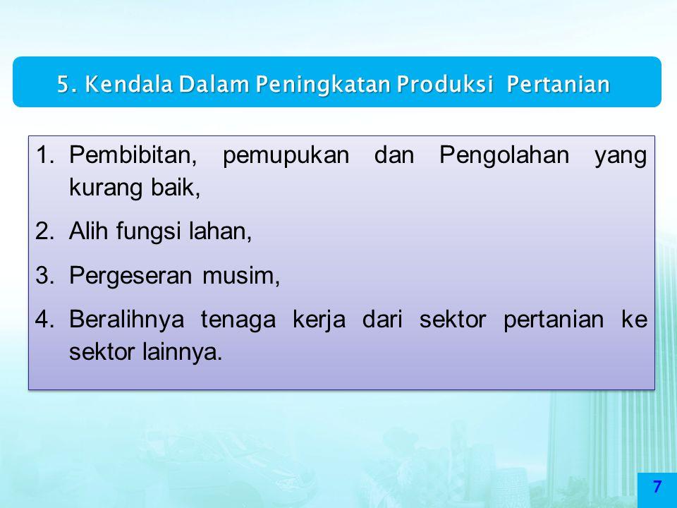 5. Kendala Dalam Peningkatan Produksi Pertanian
