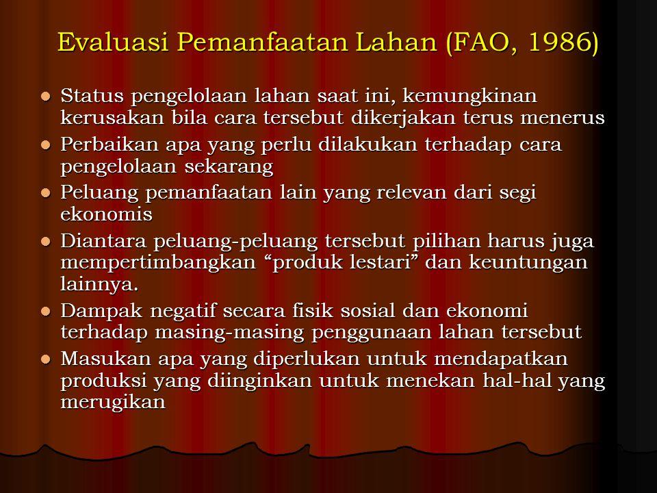 Evaluasi Pemanfaatan Lahan (FAO, 1986)