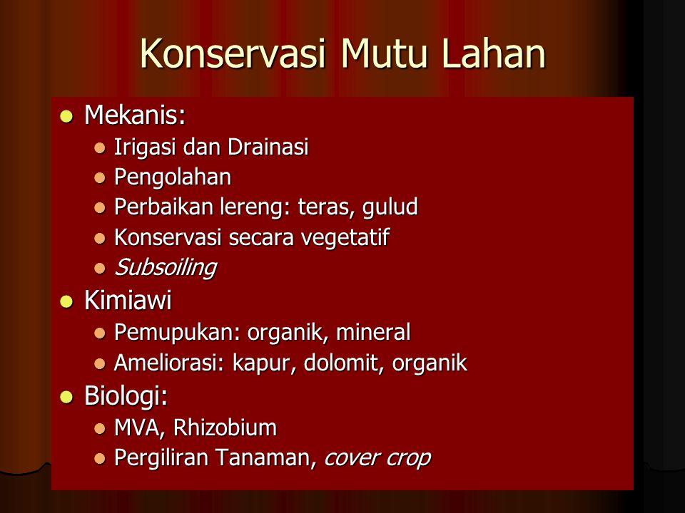 Konservasi Mutu Lahan Mekanis: Kimiawi Biologi: Irigasi dan Drainasi