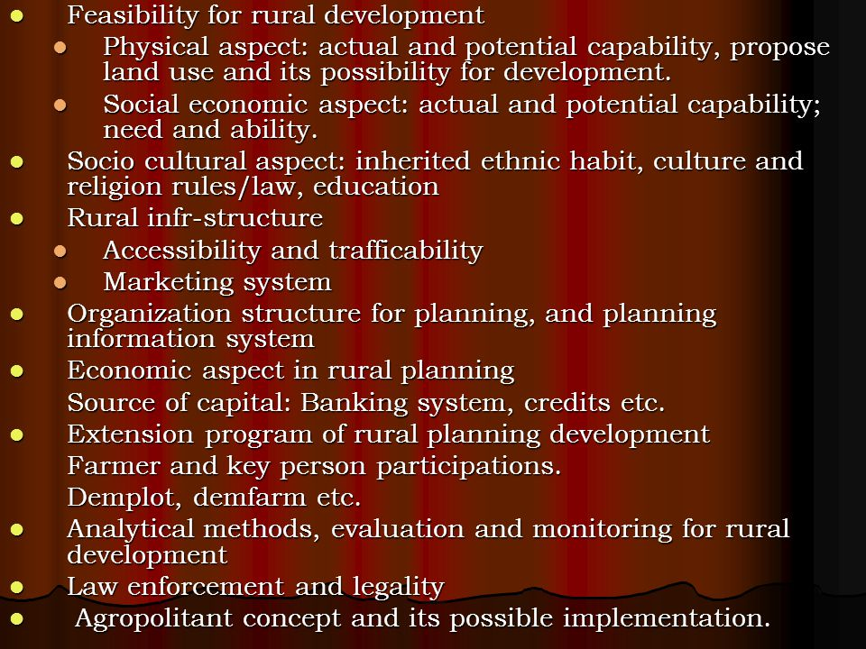 Feasibility for rural development