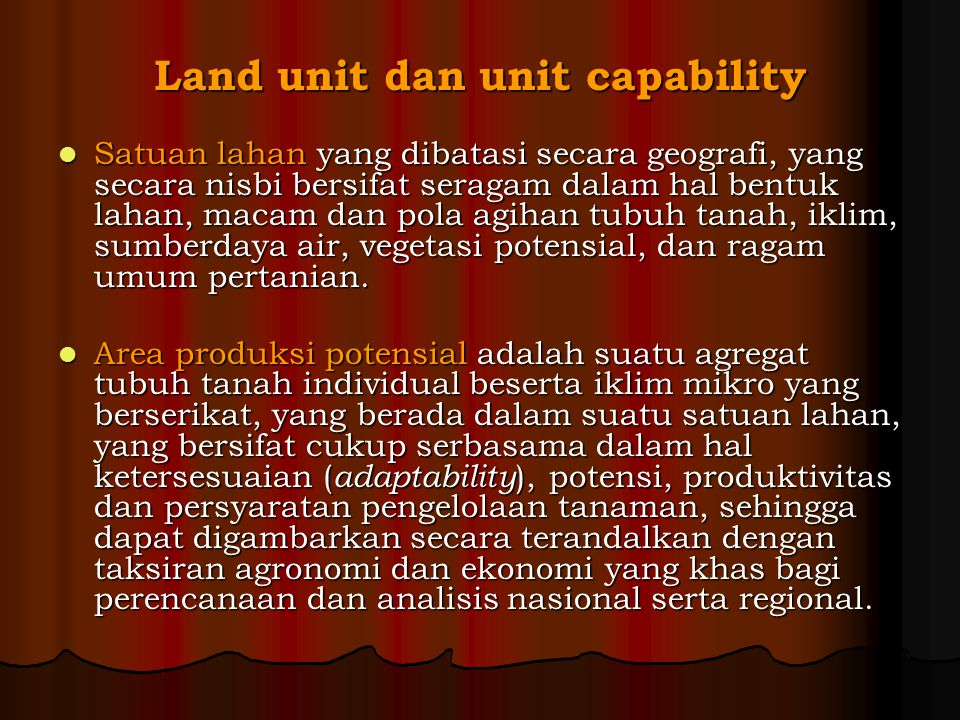 Land unit dan unit capability