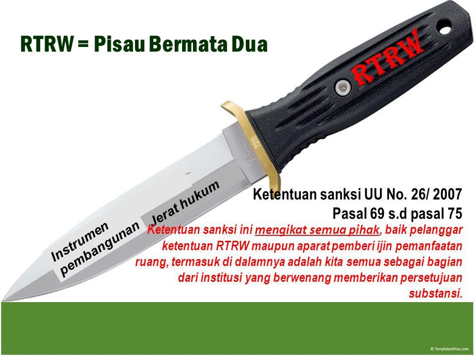 RTRW RTRW = Pisau Bermata Dua Ketentuan sanksi UU No. 26/ 2007