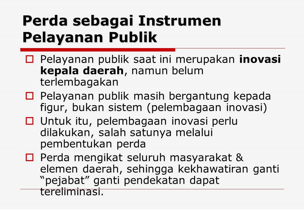 Perda sebagai Instrumen Pelayanan Publik