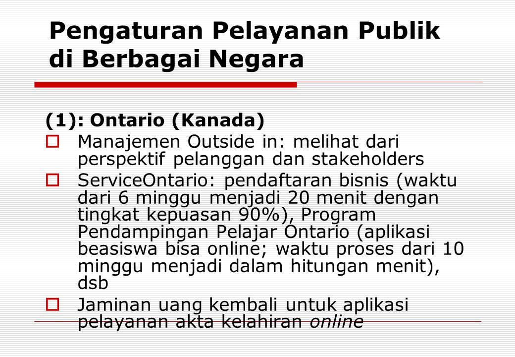 Pengaturan Pelayanan Publik di Berbagai Negara