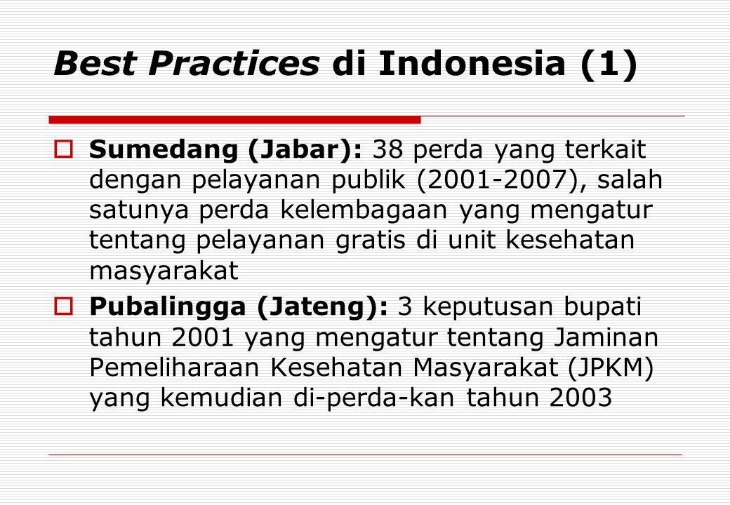 Best Practices di Indonesia (1)