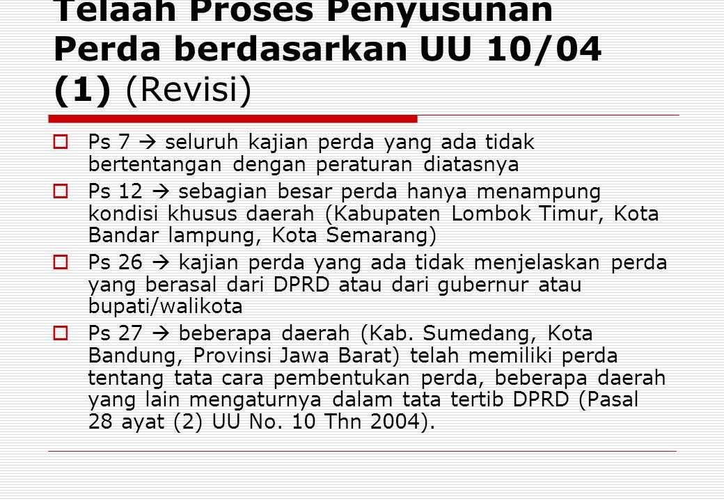 Telaah Proses Penyusunan Perda berdasarkan UU 10/04 (1) (Revisi)
