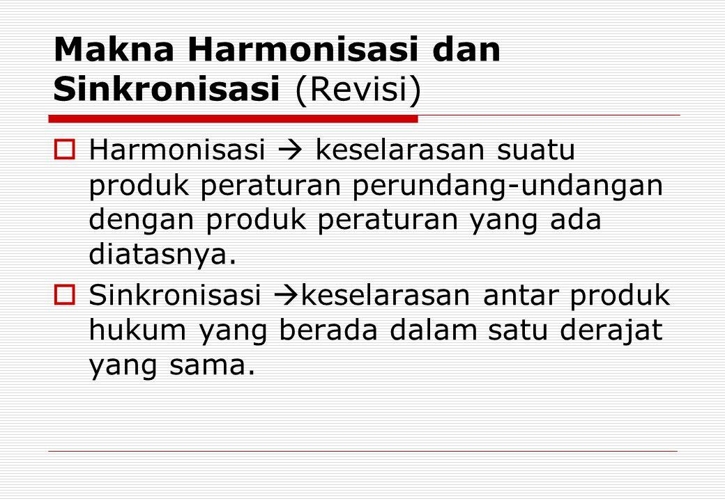 Makna Harmonisasi dan Sinkronisasi (Revisi)
