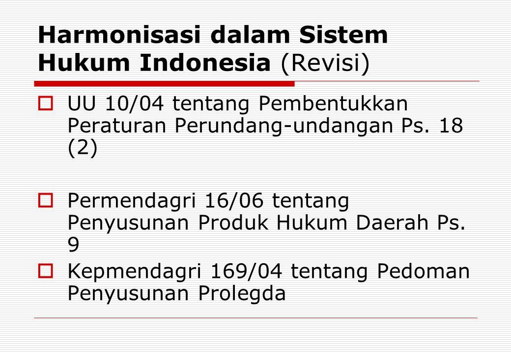 Harmonisasi dalam Sistem Hukum Indonesia (Revisi)
