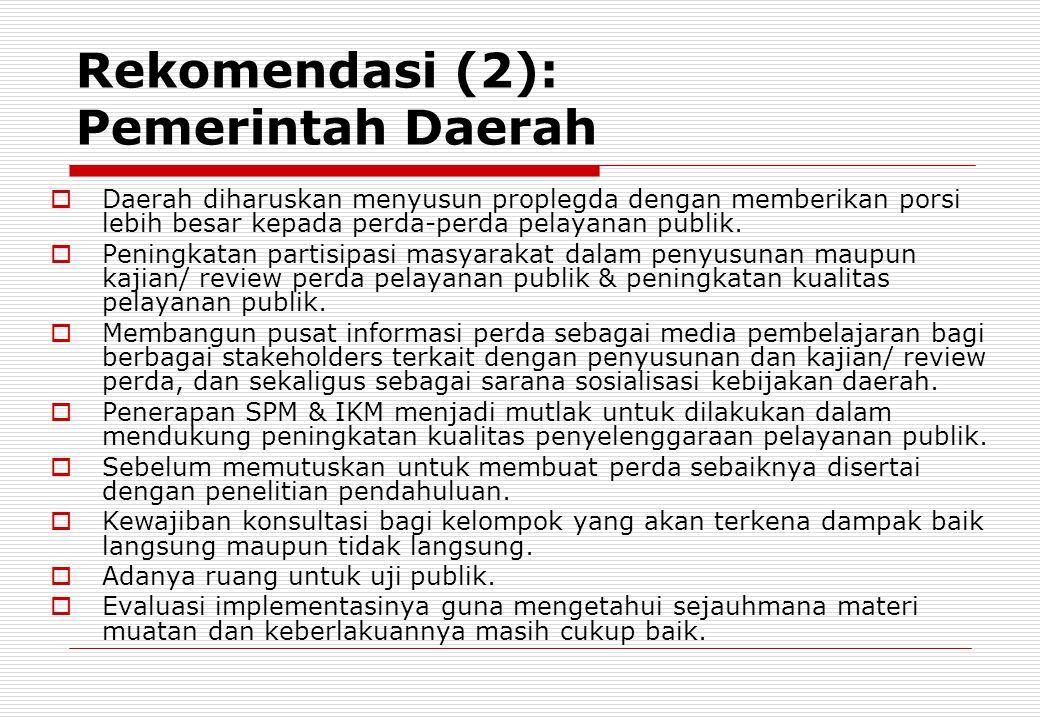 Rekomendasi (2): Pemerintah Daerah