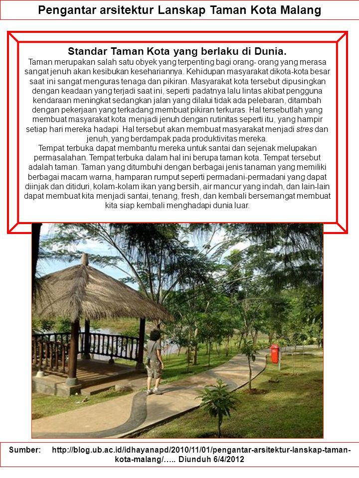 Pengantar arsitektur Lanskap Taman Kota Malang