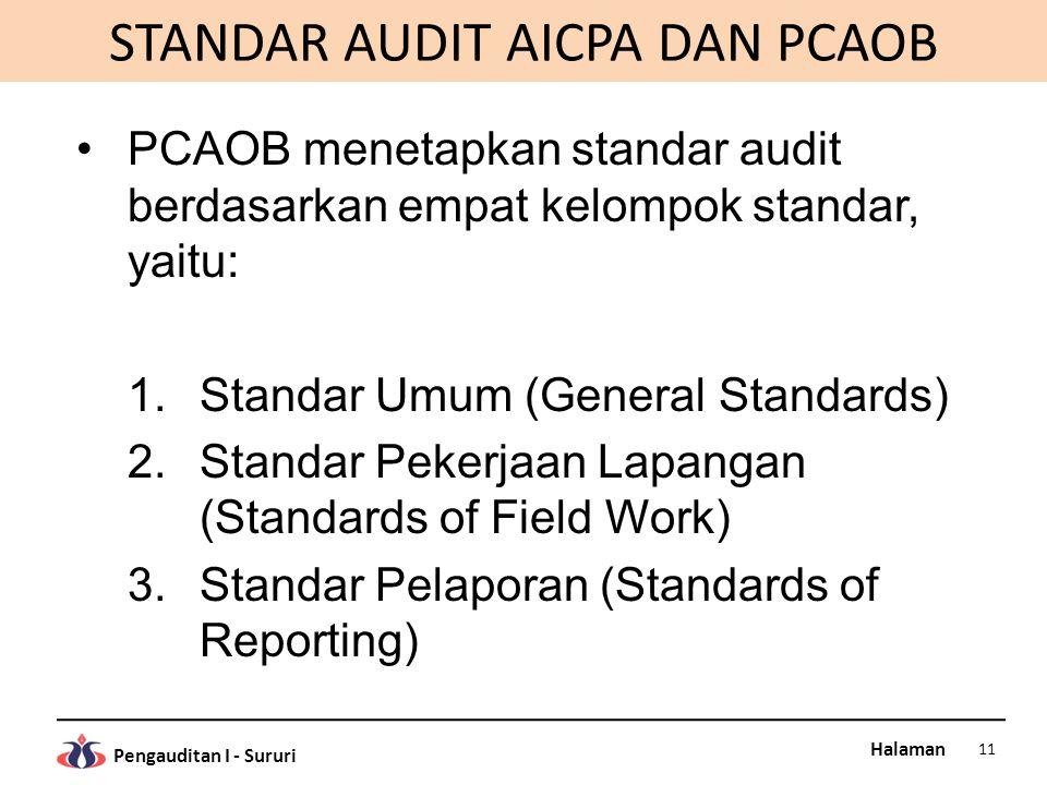 STANDAR AUDIT AICPA DAN PCAOB