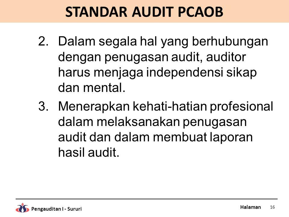 STANDAR AUDIT PCAOB Dalam segala hal yang berhubungan dengan penugasan audit, auditor harus menjaga independensi sikap dan mental.