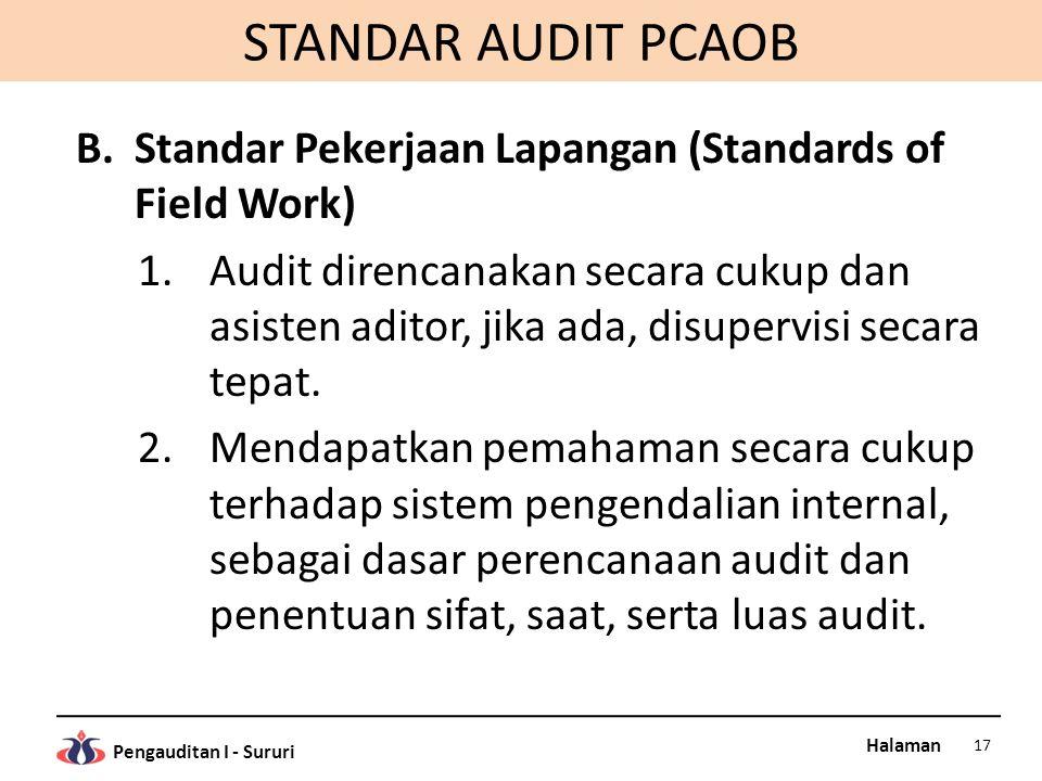 STANDAR AUDIT PCAOB Standar Pekerjaan Lapangan (Standards of Field Work)