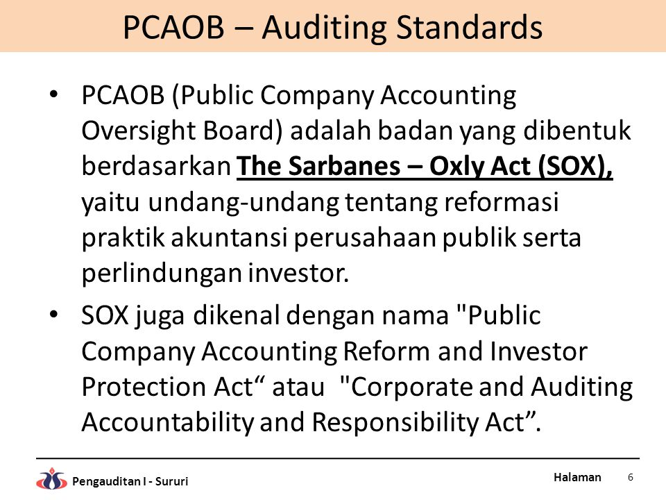 PCAOB – Auditing Standards