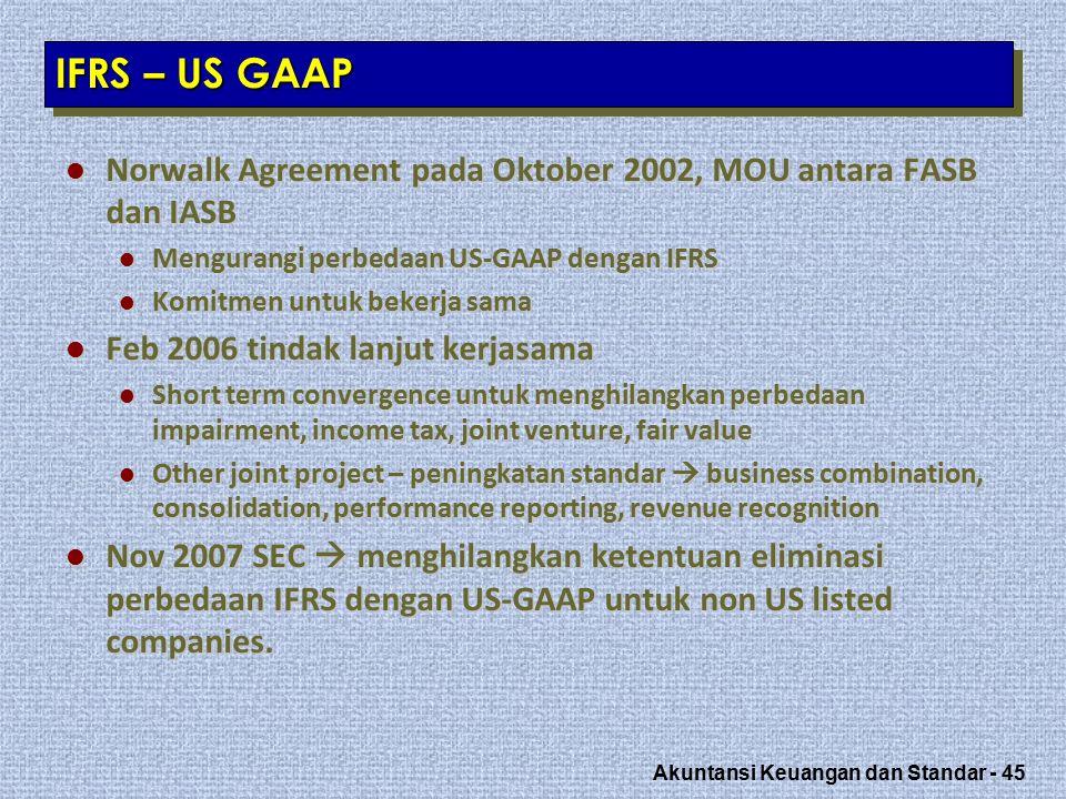 IFRS – US GAAP Norwalk Agreement pada Oktober 2002, MOU antara FASB dan IASB. Mengurangi perbedaan US-GAAP dengan IFRS.