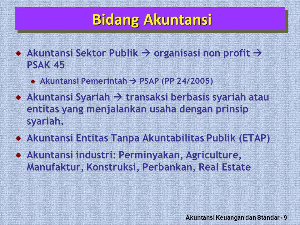 Bidang Akuntansi Akuntansi Sektor Publik  organisasi non profit  PSAK 45. Akuntansi Pemerintah  PSAP (PP 24/2005)