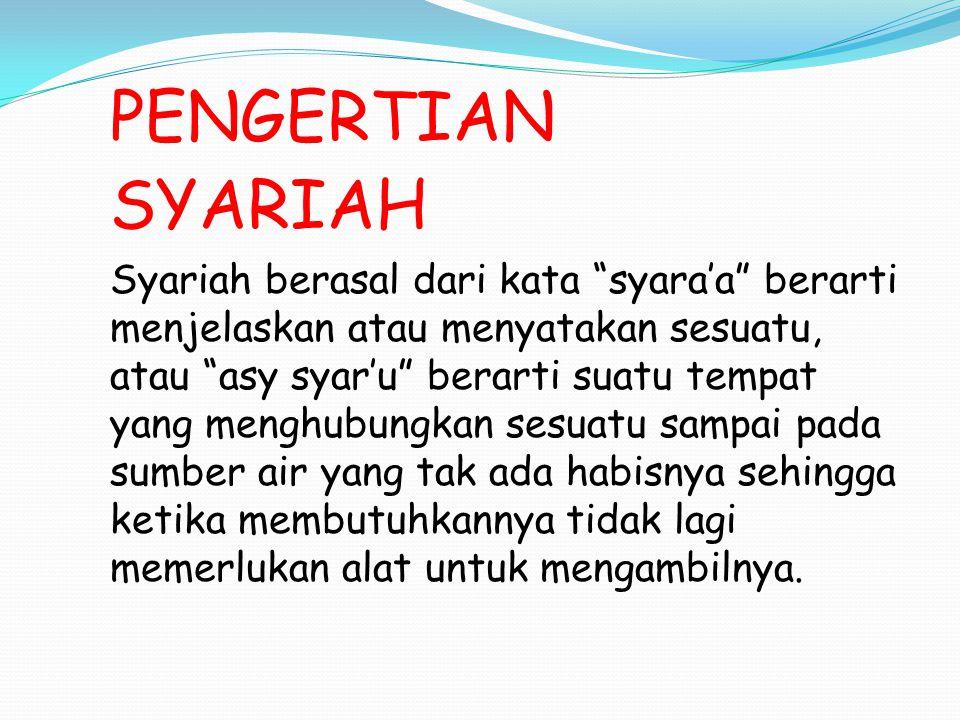 PENGERTIAN SYARIAH.