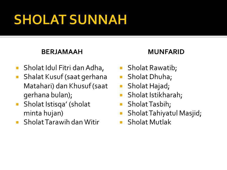 SHOLAT SUNNAH Sholat Idul Fitri dan Adha,