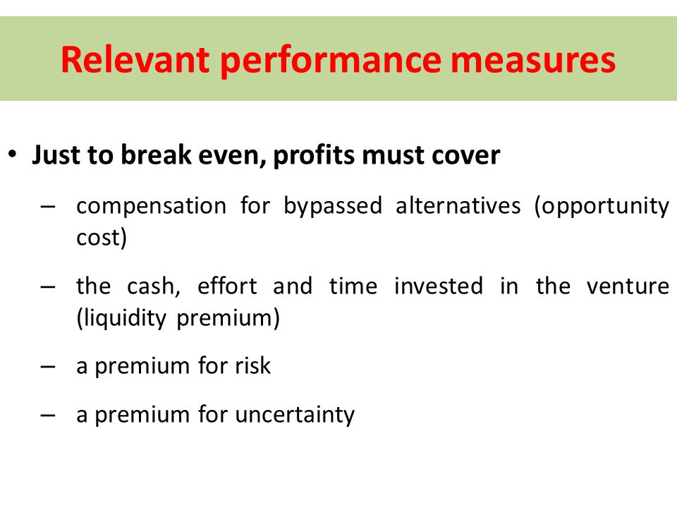 Relevant performance measures