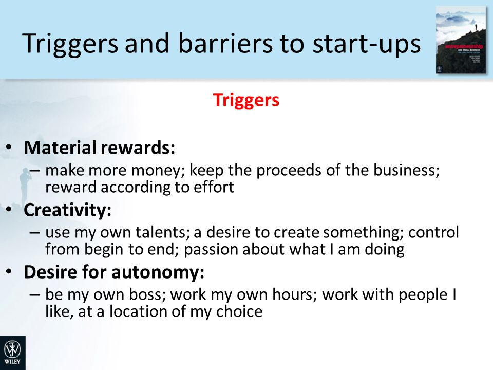 Triggers and barriers to start-ups