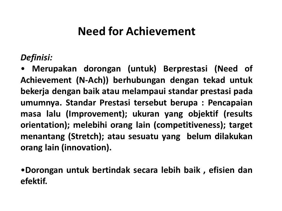 Need for Achievement Definisi: