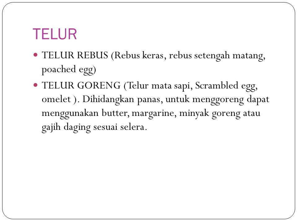 TELUR TELUR REBUS (Rebus keras, rebus setengah matang, poached egg)