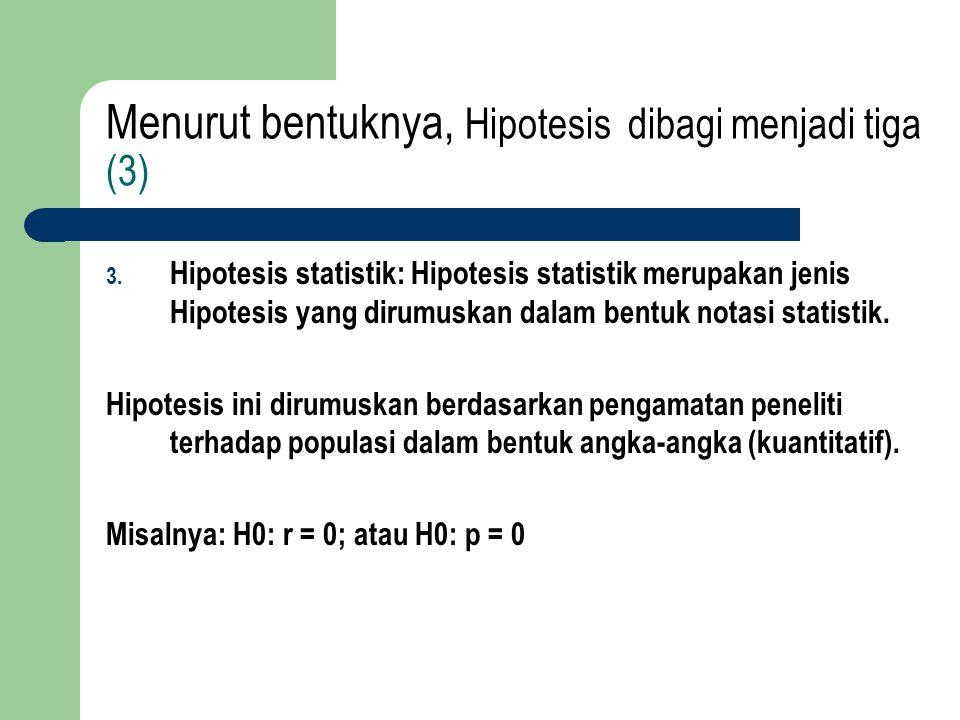 Menurut bentuknya, Hipotesis dibagi menjadi tiga (3)